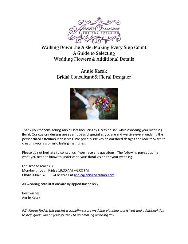 Walking Down the Aisle: Making Every Step Count