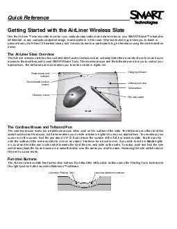 Quick Reference Getting Started with the AirLiner Wireless Slate Use the AirLiner wireless slate to control your computer app lications and make notes on your SMART Board interactive whiteboard or an