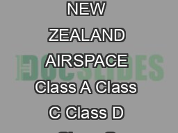 Nonmandatory Airspace Operational Requirements NEW ZEALAND AIRSPACE Class A Class C Class D Class G Traffic Information Provided ATC Separation Provided