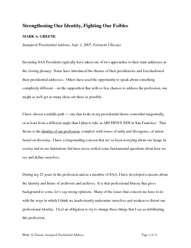 Mark. A. Greene, Inaugural Presidential Address  Page 1 of 11 Strength