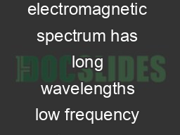 The amount of spectrum required for everyday communications The electromagnetic spectrum has long wavelengths low frequency at one end and short wavelengths high frequency at the other end
