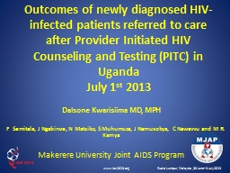 Outcomes of newly diagnosed HIV-infected patients referred