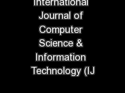 International Journal of Computer Science & Information Technology (IJ