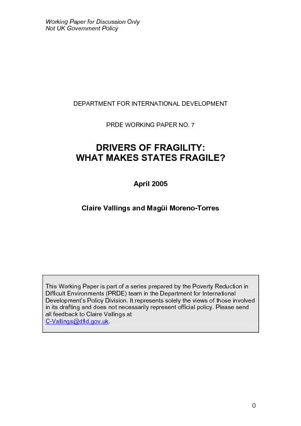 Drivers of Fragility: What Makes States Fragile?     Acknowledgements