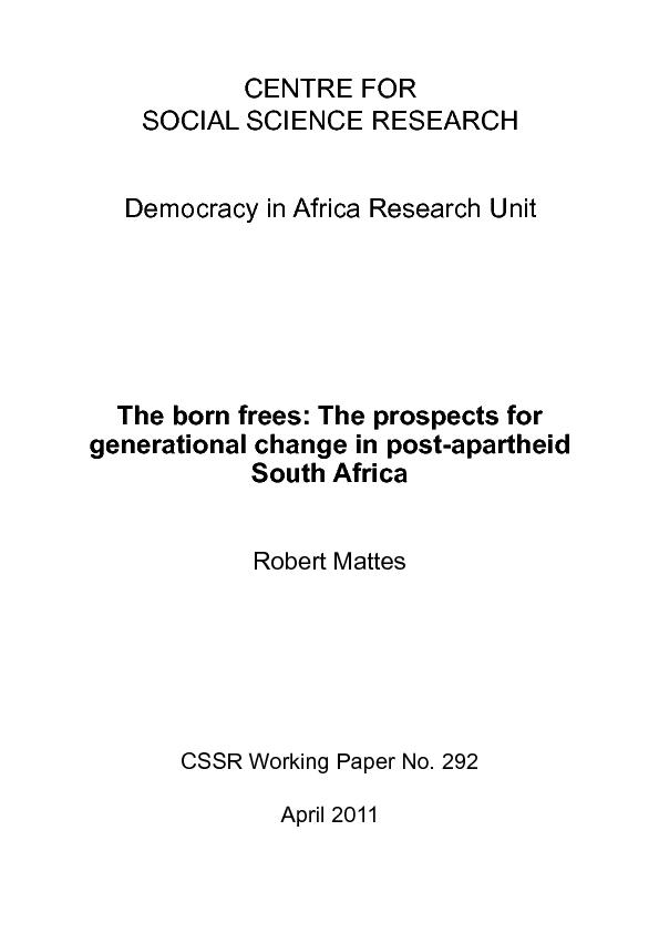 Robert Mattes is co-founder and Senior Advisor of the Afrobarometer. H