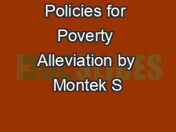 Policies for Poverty Alleviation by Montek S