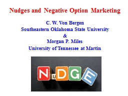 Nudges and Negative Option Marketing