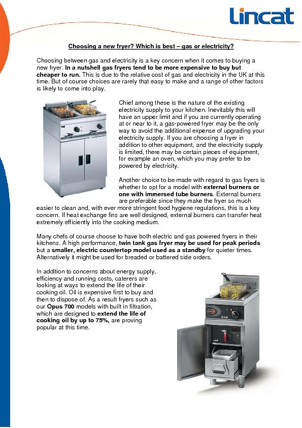 Choosing a new fryer? Which is best – gas or electricity? PowerPoint PPT Presentation