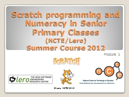 Scratch programming and Numeracy in Senior Primary Classes