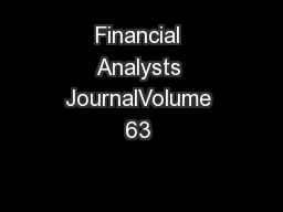 Financial Analysts JournalVolume 63