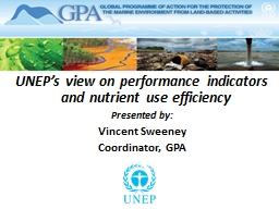 UNEP's view on performance indicators and nutrient use ef