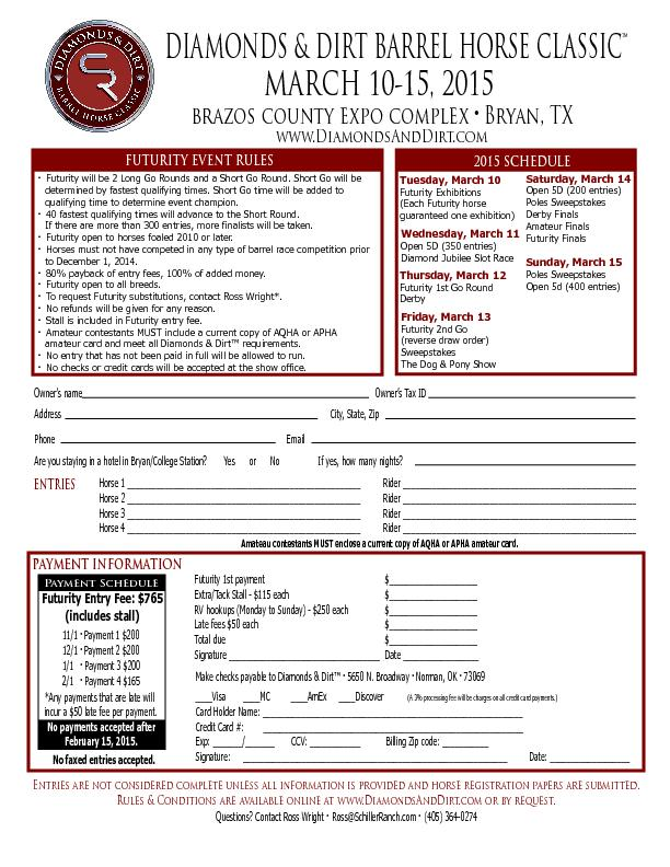 DIAMONDS & DIRT BARREL HORSE CLASSIC™MARCH 10-15, 2015brazos coun