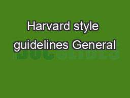 Harvard style guidelines General