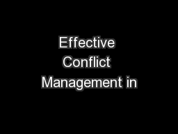 Effective Conflict Management in