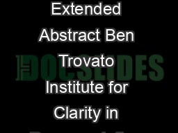 Alternate ACM SIG Proceedings Paper in LaTeX Format Extended Abstract Ben Trovato Institute for Clarity in Documentation  Wallamaloo Lane Wallamaloo New Zealand trovatocorporation
