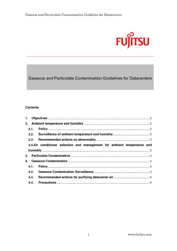 Gaseous and Particulate Contamination Guideline for Datacenters  ...