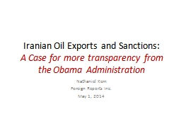 Iranian Oil Exports and Sanctions: PowerPoint PPT Presentation