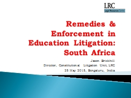 Remedies & Enforcement in Education Litigation: South A