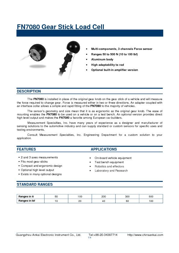FN7080 Gear Stick Load Cell
