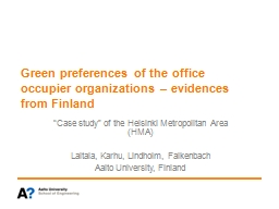 Green preferences of the office occupier organizations –