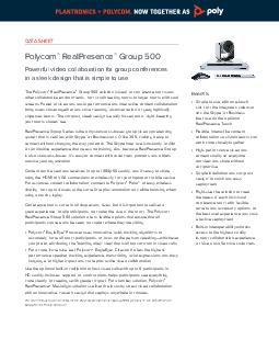 DATA SHEET Polycom RealPresence Group  Powerful video collaboration for group co PDF document - DocSlides