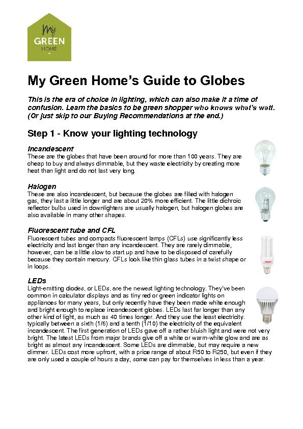 My green home s guide to globes pdf document docslides for Green home guide