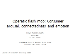 Operatic flash mob: Consumer arousal, connectedness and emo
