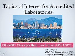 Topics of Interest for Accredited Laboratories