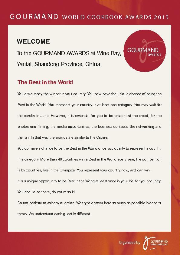 To the GOURMAND AWARDS at Wine Bay,Yantai, Shandong Province, CThe Bes PowerPoint PPT Presentation