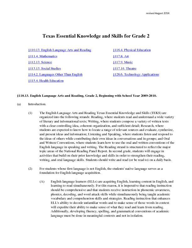 revised August Texas Essential Knowledge and Skills for Grade