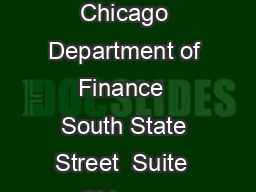 Amusement Tax Exemption Application City of Chicago Department of Finance  South State Street  Suite  Chicago Illinois  Attn Exemption Unit Instructions