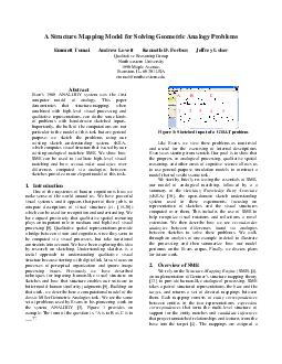 A Structure Mapping Model for Solving Geometric Ana logy Problems Emmett Tomai Andrew Lovett Kenneth D
