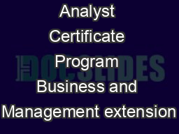 Business Analyst Certificate Program Business and Management extension