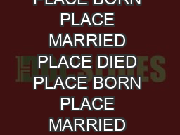 BORN PLACE MARRIED PLACE DIED PLACE BORN PLACE MARRIED PLACE DIED PLACE BORN PLACE MARRIED PLACE DIED PLACE BORN PLACE MARRIED PLACE DIED PLACE BORN PLACE DIED PLACE BORN PLACE DIED PLACE BORN PLACE PowerPoint PPT Presentation