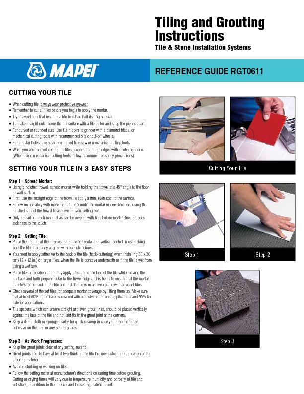 REFETiling and GroutingInstructionsTile & Stone Installation Systems .