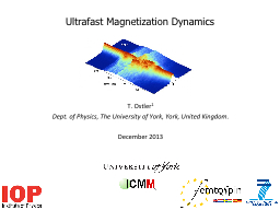 Ultrafast Magnetization Dynamics PowerPoint PPT Presentation