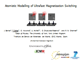 Atomistic Modelling of Ultrafast Magnetization Switching PowerPoint PPT Presentation