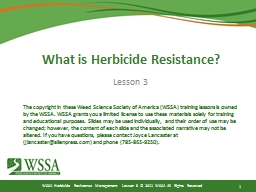 What is Herbicide Resistance? PowerPoint PPT Presentation