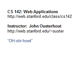 CS 142: Web Applications