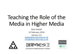 Teaching the Role of the Media in Higher Media PowerPoint PPT Presentation