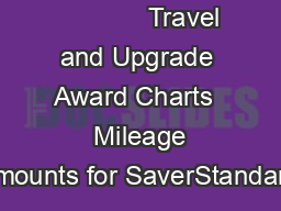 Travel and Upgrade Award Charts   Mileage amounts for SaverStandard