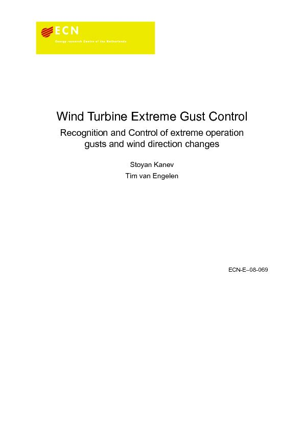 Wind Turbine Extreme Gust ControlRecognition and Control of extreme op