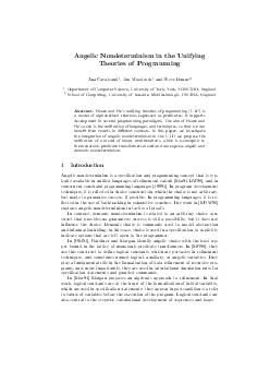 Angelic Nondeterminism in the Unifying Theories of Programming Ana Cavalcanti  Jim Woodcock and Steve Dunne Department of Computer Science University of York York Y O DD England School of Computing U
