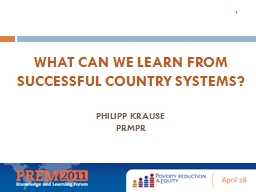 What can we learn from successful country systems?