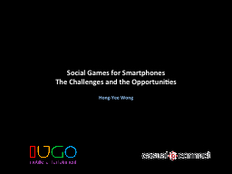 Social Games for Smartphones