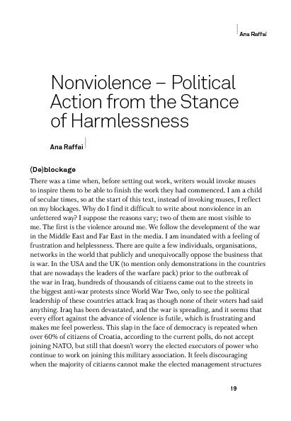 What is nonviolence and how does it start?At the roots of this notion