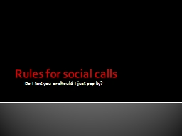 Rules for social calls