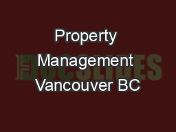 Property Management Vancouver BC PowerPoint PPT Presentation