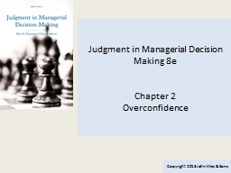 Judgment in Managerial Decision Making 8e PowerPoint PPT Presentation