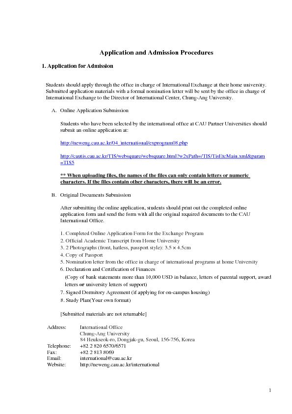Application and Admission Procedures1. Application for Admission Stude